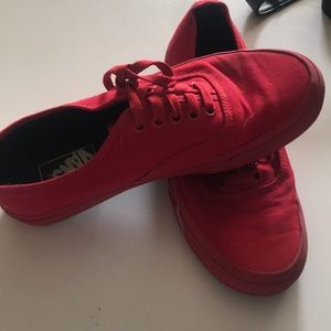 Vans Shoes - BARELY USED ALL RED LOW TOP VANS